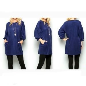Acting Pro Bubble Sleeves Tunic Top Navy M